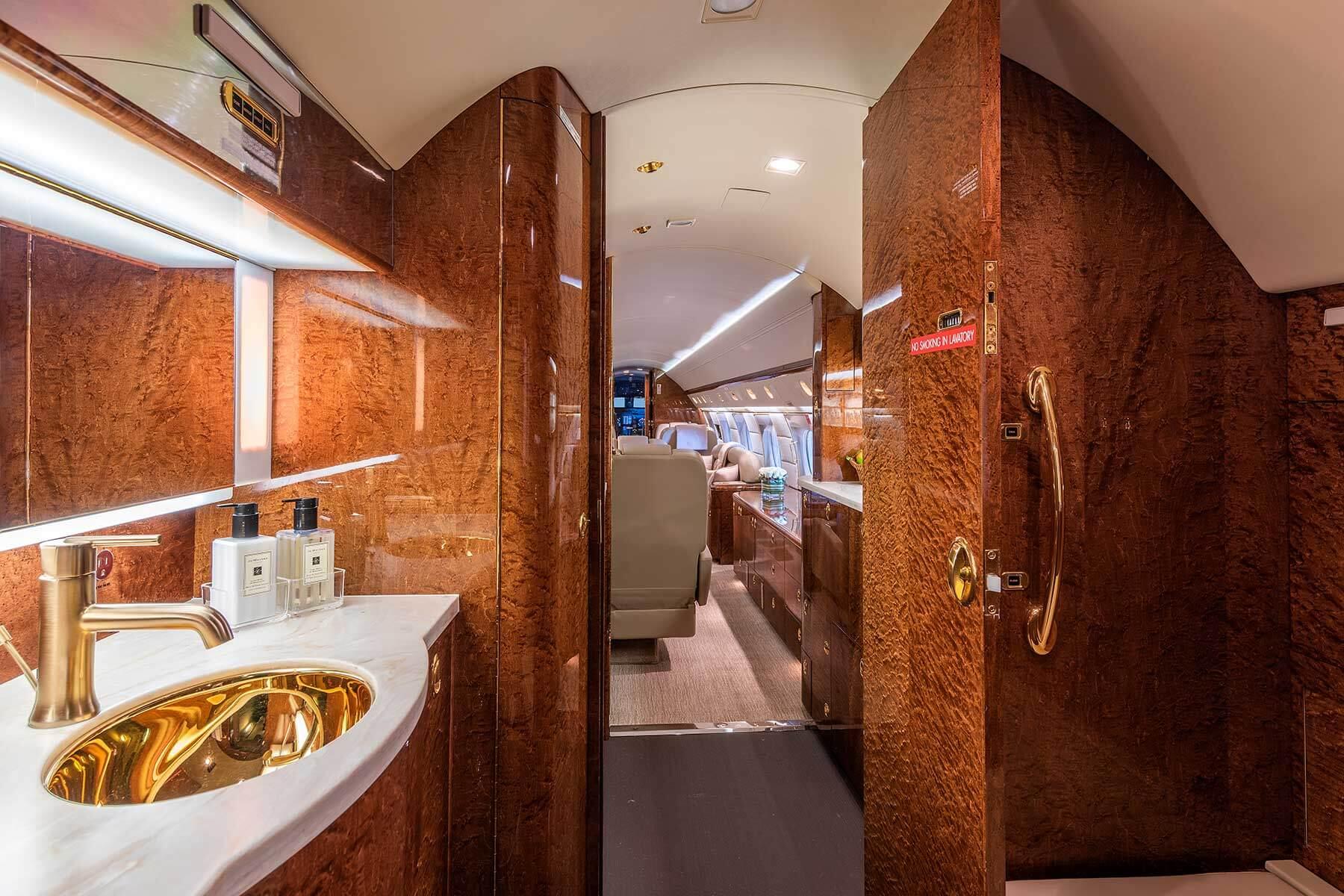 Gulfstream Charter | Aft lav in our Gulfstream GV