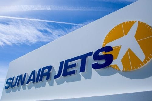 Maintenance Management_Sun Air Jets Logo with sky background