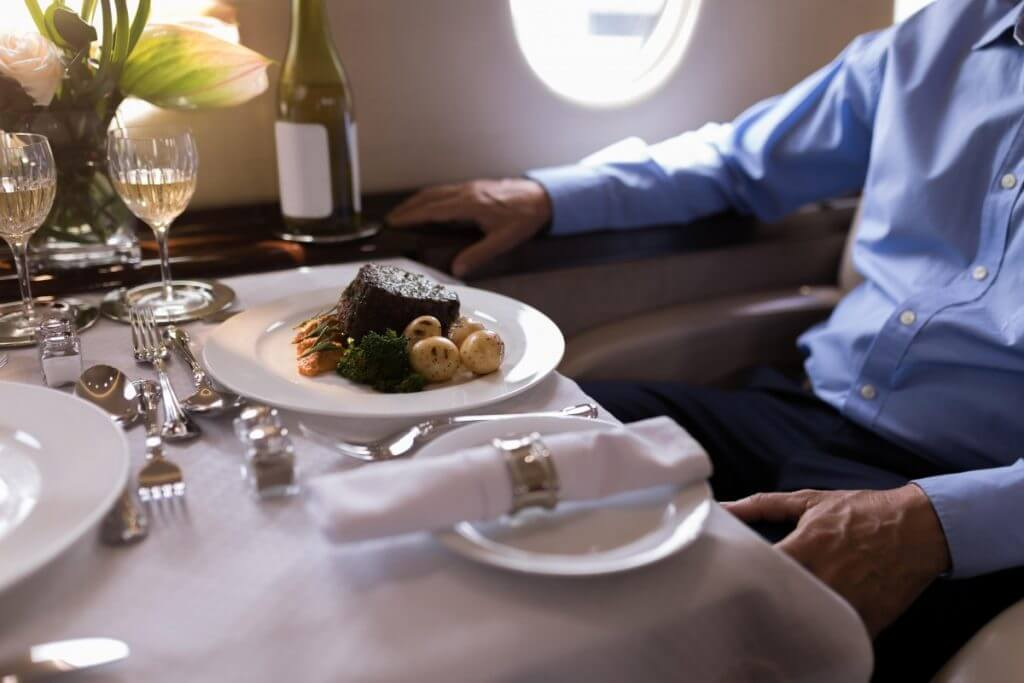 Charter plane private dinner