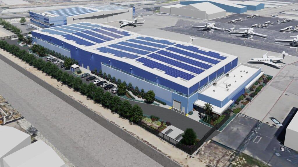 Sun Air Jets' hangar space at 16706 Roscoe Blvd, Van Nuys, CA